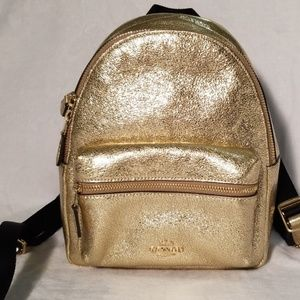 Coach gold mini backpack NWT